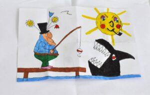 tekning av man som fiskar en haj